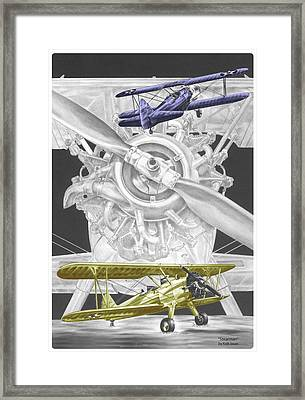 Stearman - Vintage Biplane Aviation Art With Color Framed Print by Kelli Swan