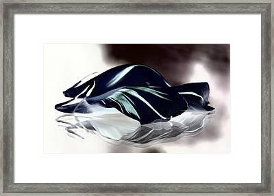 Steel Black And Blue Petals Framed Print