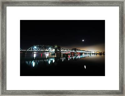 Steel Bridge Moon Framed Print by Ty Helbach