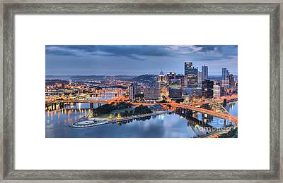 Steel City Glow Framed Print