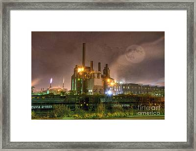 Steel Mill At Night Framed Print by Juli Scalzi