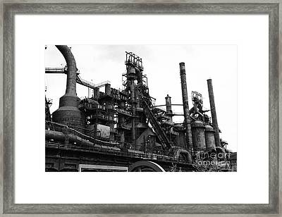 Steel Mill In Black And White Framed Print by Paul Ward