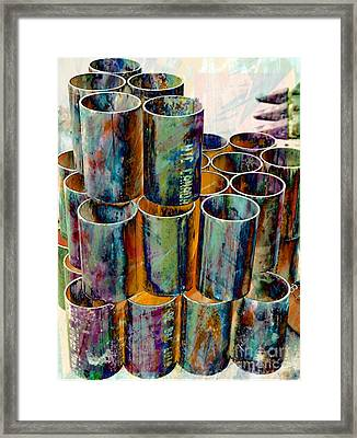 Steel Pipes Framed Print
