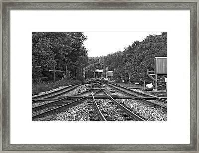 Steel Rail Intersections.   Point Of Rocks Md Framed Print