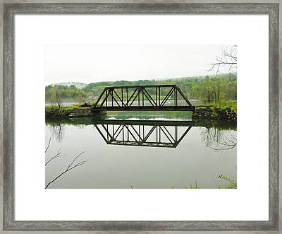 Framed Print featuring the photograph Vermont Steel Railroad Trestle On A Calm  Misty Morning by Sherman Perry