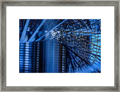 Steel Stairs In Blue Tones  Framed Print by Tommytechno Sweden