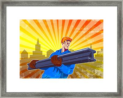 Steel Worker Carry I-beam Retro Poster Framed Print by Aloysius Patrimonio