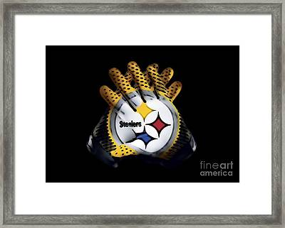 Steelers Gloves Framed Print by Gayle Price Thomas