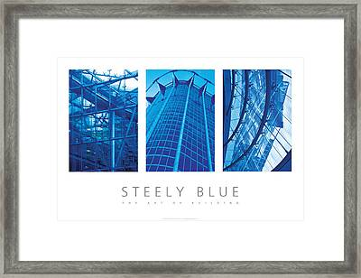 Framed Print featuring the digital art Steely Blue The Art Of Building Poster by David Davies