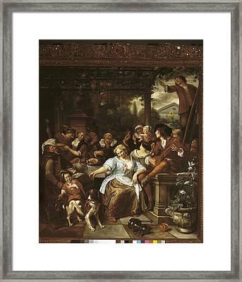 Steen, Jan 1626-1679. Merry Company Framed Print by Everett