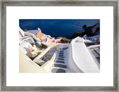 Steep Down Stairs Framed Print by Aiolos Greek Collections