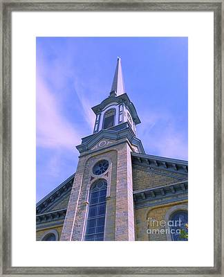 Framed Print featuring the photograph Steeple Church Arch Windows  1 by Becky Lupe