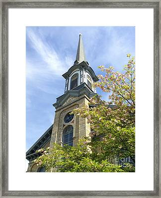Framed Print featuring the photograph Steeple Church Arch Windows by Becky Lupe