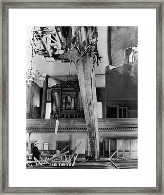 Steeple Now Inside The Church Framed Print by Underwood Archives