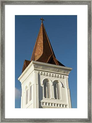 Steeple Of Historic First United Framed Print