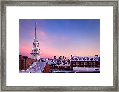 Steeple Over Snow Covered Roof Tops Portsmouth Nh Framed Print