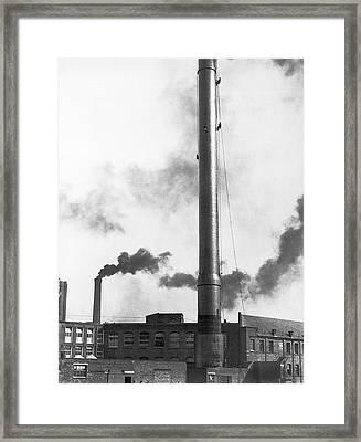 Steeplejacks Painting Chimney Framed Print by Underwood Archives