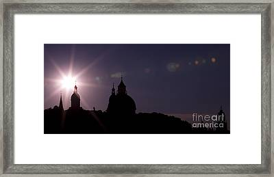 Steeples At Sunset Framed Print by Maurizio Bacciarini
