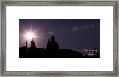 Steeples At Sunset Framed Print