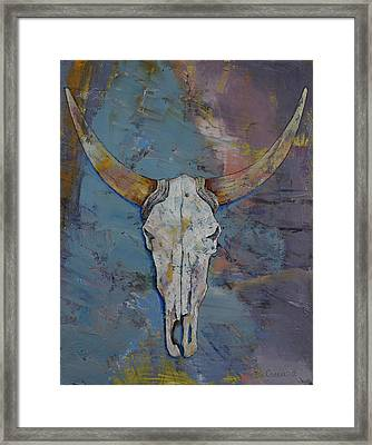 Steer Skull Framed Print by Michael Creese