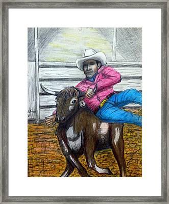 Steer Wrestling Original For Sale Framed Print