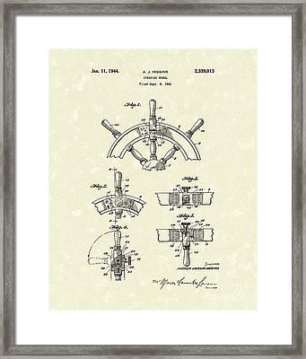 Steering Wheel 1944 Patent Art Framed Print