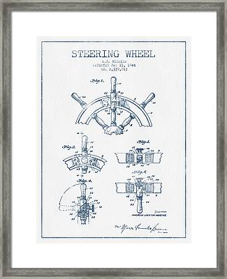 Steering Wheel Patent Drawing From 1944   -  Blue Ink Framed Print