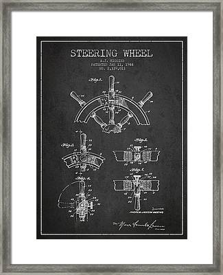 Steering Wheel Patent Drawing From 1944  - Dark Framed Print