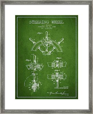 Steering Wheel Patent Drawing From 1944  - Green Framed Print