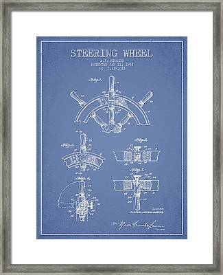 Steering Wheel Patent Drawing From 1944  - Light Blue Framed Print