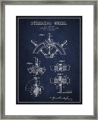 Steering Wheel Patent Drawing From 1944  - Navy Blue Framed Print