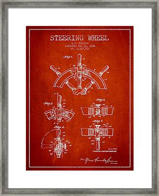 Steering Wheel Patent Drawing From 1944  - Red Framed Print