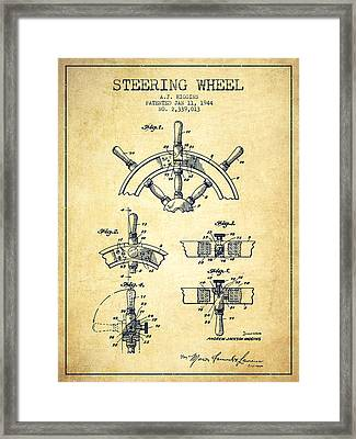 Steering Wheel Patent Drawing From 1944  - Vintage Framed Print