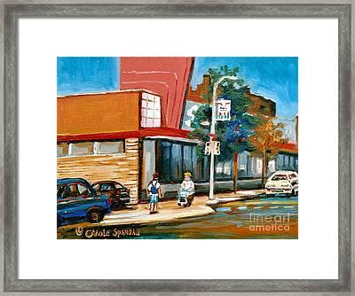 Steinberg's  On Van Horne Street Outremont Montreal Landmarks Framed Print by Carole Spandau