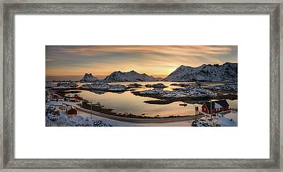 Steinefjord At Sunset, Lofoten Framed Print by Panoramic Images
