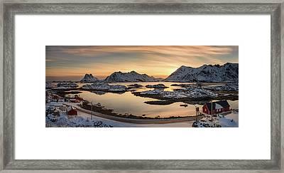 Steinefjord At Sunset, Lofoten Framed Print