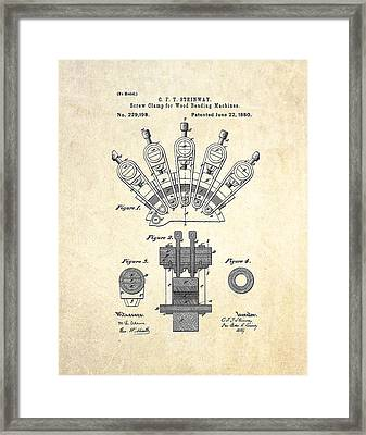 1880 Steinway Screw Clamp Patent Art Framed Print