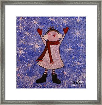 Framed Print featuring the painting Stella And Snowflake Kisses by Jane Chesnut