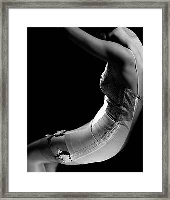 Stella Bayliss Modeling A Corset Dress Framed Print by Edward Steichen