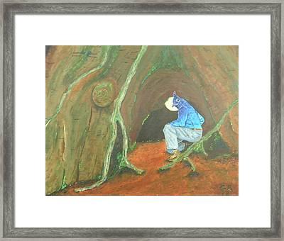 Stellar Jay Begins His Journey...will You Follow? Framed Print by Gilbert Bernhardt