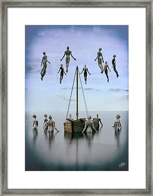 Small Boats Of Emigrants Framed Print