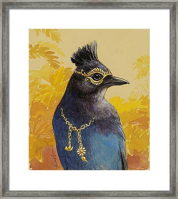Steller's Jay Goes To The Ball Framed Print by Tracie Thompson