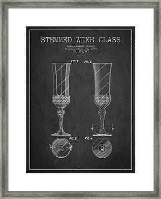 Stemmed Wine Glass Patent From 1988 - Charcoal Framed Print by Aged Pixel