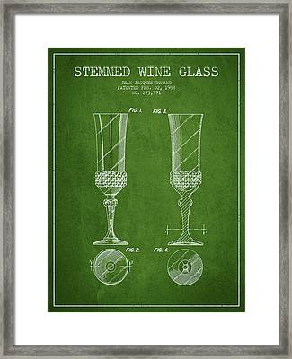 Stemmed Wine Glass Patent From 1988 - Green Framed Print by Aged Pixel