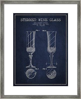 Stemmed Wine Glass Patent From 1988 - Navy Blue Framed Print