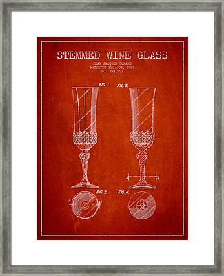 Stemmed Wine Glass Patent From 1988 - Red Framed Print by Aged Pixel