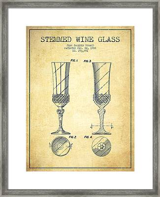 Stemmed Wine Glass Patent From 1988 - Vintage Framed Print by Aged Pixel