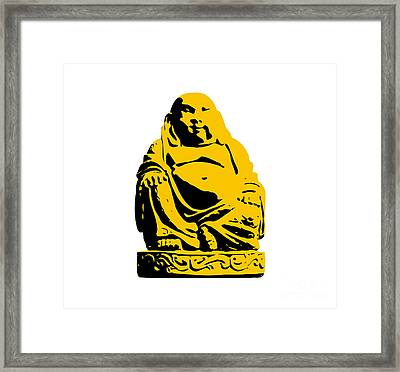 Stencil Buddha Yellow Framed Print by Pixel Chimp