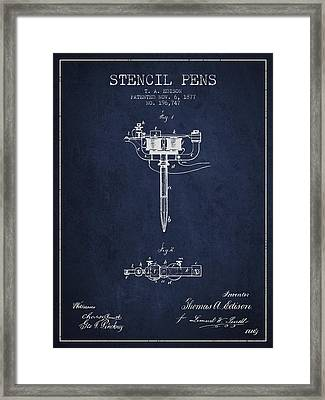 Stencil Pen Patent From 1877 - Navy Blue Framed Print by Aged Pixel