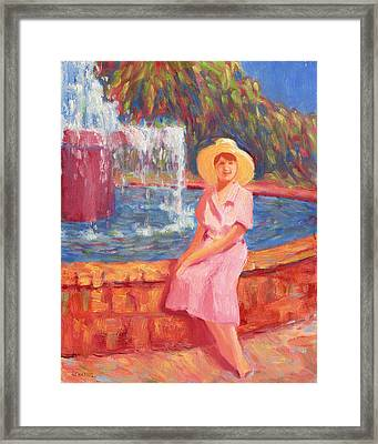 Stephanies Fountain Hat Framed Print by Vernon Reinike
